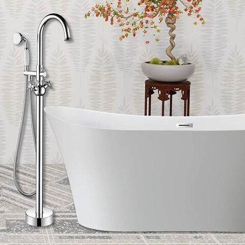 Vanity Art Polished Chrome Freestanding Bathtub Faucet
