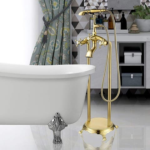Vanity Art Brushed Nickel Finished Bathtub Faucet Freestanding Floor-Mounted Single Handle Mixer Tap with Handheld Shower