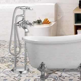 Vanity Art Polished Chrome Freestanding Bathtub Faucet and Handheld Shower
