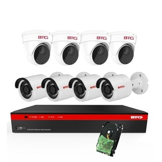 BTG 8CH 4K NVR 8 Cameras Security Camera System Built-in PoE with Outdoor 5MP Surveillance IP PoE 4 Bullet + 4 Dome Cameras