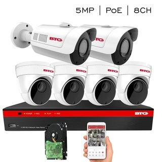 BTG 8CH 4K NVR 6 Cameras Security System Built-in PoE with Outdoor 5MP Surveillance IP PoE 4 Dome + 2 Bullet Cameras
