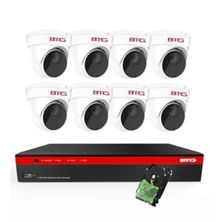 BTG 8CH 5MP PoE Security Camera System Built-in PoE 8MP 4K NVR with Outdoor 5MP Surveillance IP PoE 8 x Dome Cameras