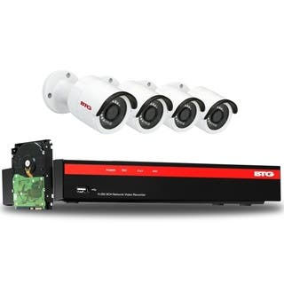 BTG 8CH 5MP 4 Cameras PoE Security Camera System 4K NVR Built-in PoE with Outdoor 5MP Surveillance IP PoE 4 Bullet Cameras