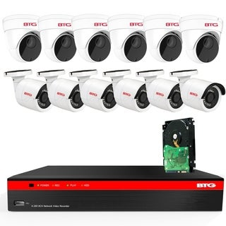 BTG 16CH 4K NVR 12 Cameras Security Camera System Built-in PoE with Outdoor 5MP Surveillance IP PoE 6 Bullet + 6 Dome Cameras