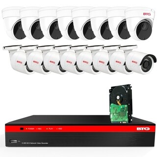 BTG 16CH 4K NVR 12 Cameras Security Camera System Built-in PoE with Outdoor 5MP Surveillance IP PoE 8 Bullet + 8 Dome Cameras