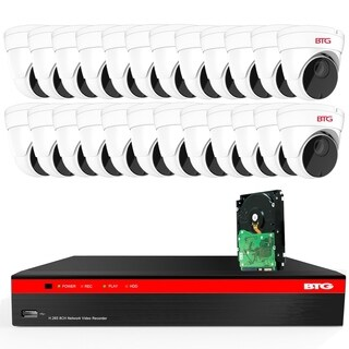 BTG 32CH 5MP Security Camera System Built-in PoE 8MP 4K NVR with Outdoor 5MP Surveillance IP PoE 24 x Dome Cameras