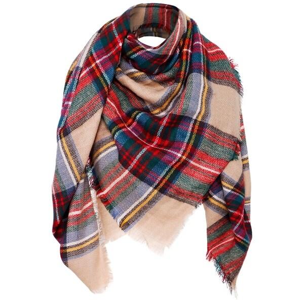 4d1b11e4441a5 Shop Women's Large Fall/Winter Blanket Wrap Shawl Plaid Scarf - Free ...