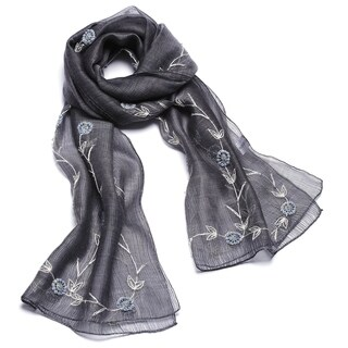Exotic Hand Made Embroidery Wool and Silk Silver Color Scarf