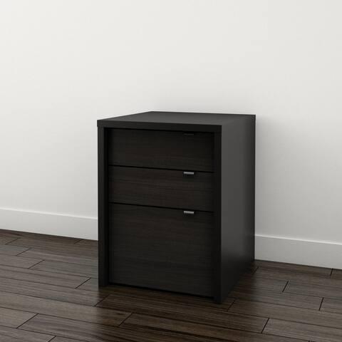 Nexera Sereni-T 3 Drawer Filing Cabinet, Black and Ebony