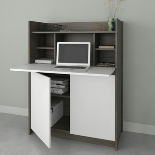 Nexera Chrono Desk, Bark Grey and White