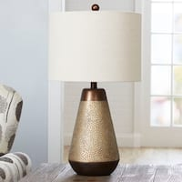 Perry Hammered Finish Table Lamp with Shade, Small
