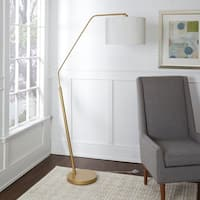 Denton Goldtone/White Metal/Fabric Arched Floor Lamp