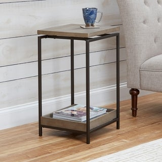 Brooks Metal End Table with Floating Wood Top
