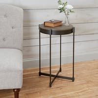 Asher Grey Wood/Metal Cross Base End Table