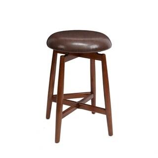 Dodie Modern Wood Swivel Barstool with Round Cushion