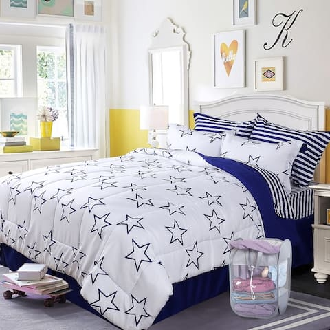 HOME FASHIONS Bed In A Bag Comforter Set, with 1 Free Laundry Basket