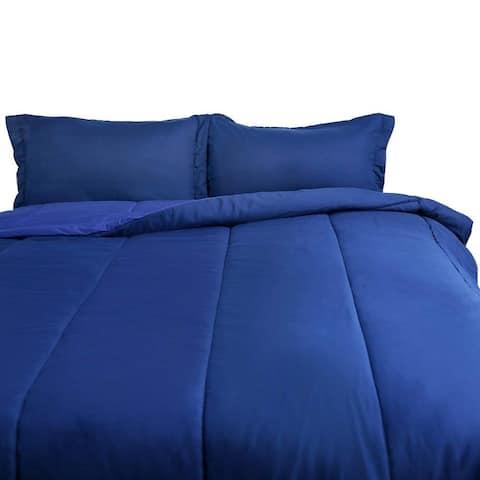 Honeymoon Twin Comforter Set Reversible 2PC, Navy and Blue