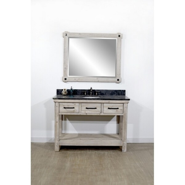 Shop Rustic Distressed Driftwood Finish Solid Fir 48 Inch Single Sink Bathroom Vanity With