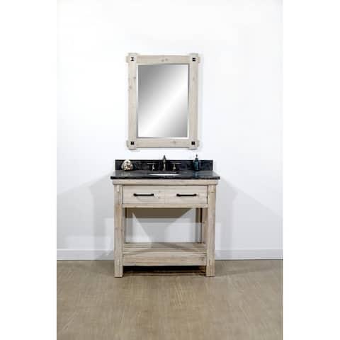 "36""Rustic Solid Fir Single Sink Bathroom Vanity with Limestone Top-No Faucet"