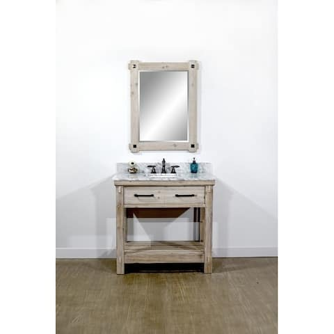 """36""""Rustic Solid Fir Single Sink Bathroom Vanity with Carrara White Marble Top-No Faucet"""