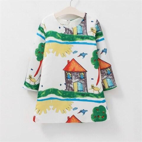 Spring Autumn Baby Girls House Printing Long Sleeves Princess Dress