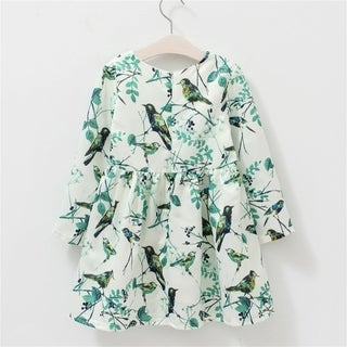 O-neck Long-sleeved One Piece Dress with Pretty Tree & Birds Pattern