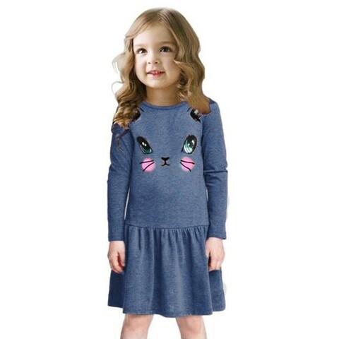Cartoon Cat Dress O-neck Long-sleeved Above Knee Cotton Dress