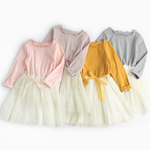 Kids Princess Dresses Cotton Long Sleeve Ball Gown Dress Warm Clothing