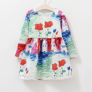 Baby Graffiti Printing Long Sleeves Princess Dress