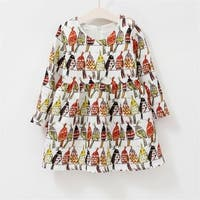 Baby Bird Printing Round Collar Long Sleeve Princess Dress
