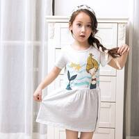 Baby Short Sleeve Casual T-shirt Dress with Cute Mermaid Pattern
