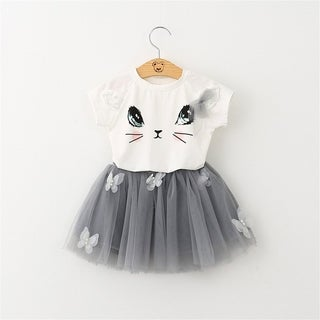 O-neck T-shirt with Cat Pattern&Pompon Yarn Skirt with Butterfly Decor