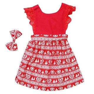 Children Clothes Lace Stitching One Piece Dress with Flying Sleeves