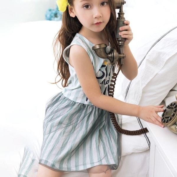 Shop Kids Ball Gown Dress Sleeveless Print Stripe Princess Dresses ...