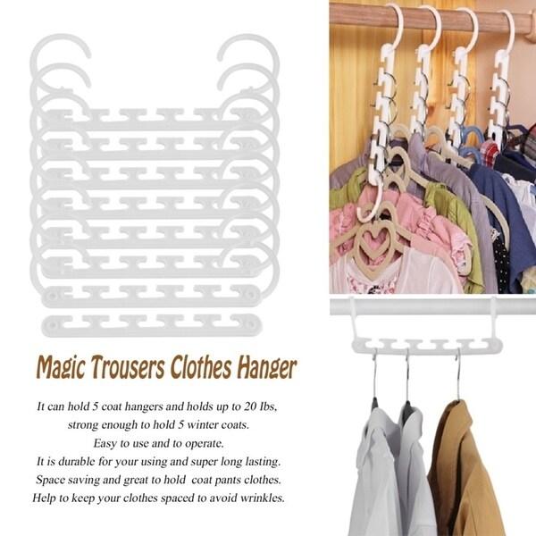 8 Pcs Space Saving Magic Trousers Clothes Hanger Clothes Organizer