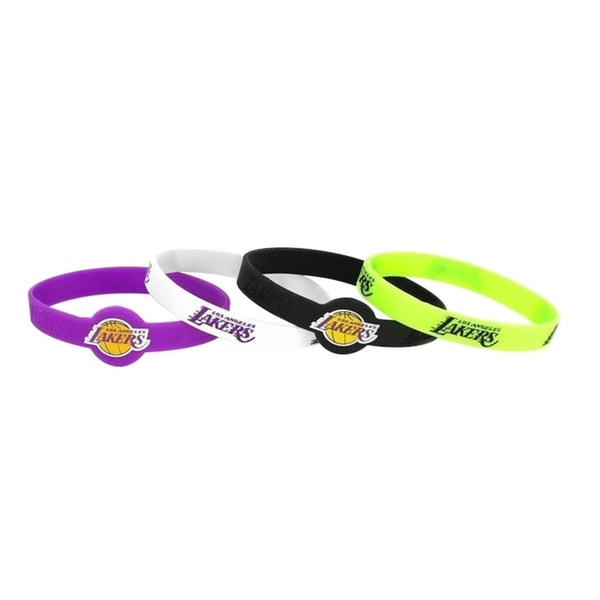 NBA LA Los Angeles Lakers Sports Team Logo Silicone Bracelet - 4 Pack