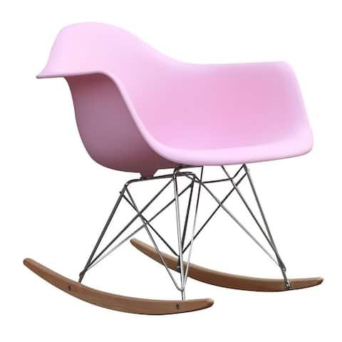 Fine Mod Imports Mid-century Pink Frame Rocker Arm Chair