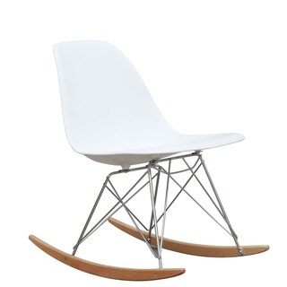 Fine Mod Imports Mid Century ABS Frame Rocker Side Chair - White