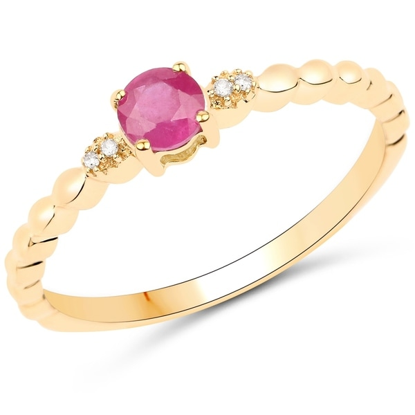 0 31 Carat Genuine Ruby And White Diamond 14k Yellow Gold Ring