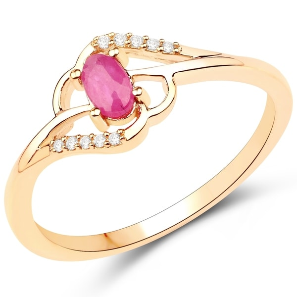 0 30 Carat Genuine Ruby And White Diamond 14k Yellow Gold Ring