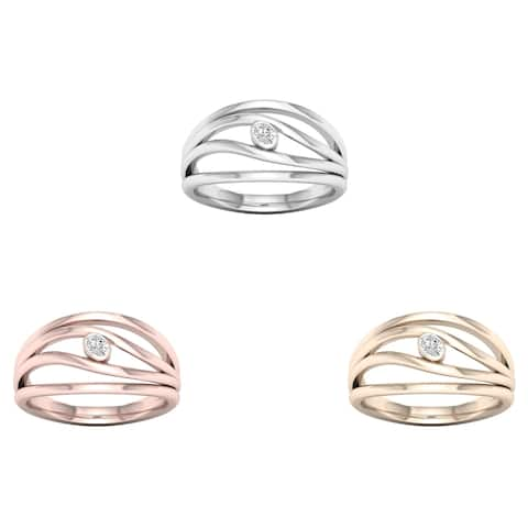 De Couer 10k Gold 1/20ct TDW Diamond Split Shank Fashion Ring