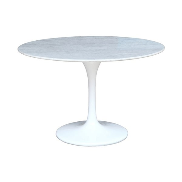 "Fine Mod Imports 48"" Lacquered Light Gloss Base Flower Marble Table - White. Opens flyout."