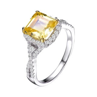 Collette Z Sterling Silver with Rhodium Plated Yellow Cushion Cubic Zirconia with Clear Round Cubic Zirconias Twisted Ring