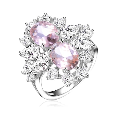 Collette Z Sterling Silver with Rhodium Plated Morganite Oval Cubic Zirconias with Clear Cubic Zirconias Accent Cocktail Ring