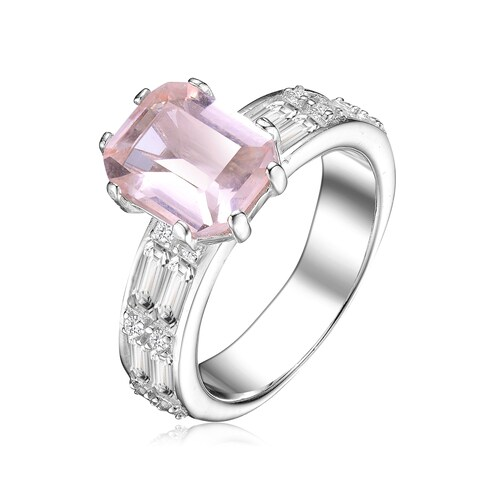 Collette Z Sterling Silver with Rhodium Plated Morganite Radiant Cubic Zirconia with Round and Emerald Cubic Zirconias Pave Ring