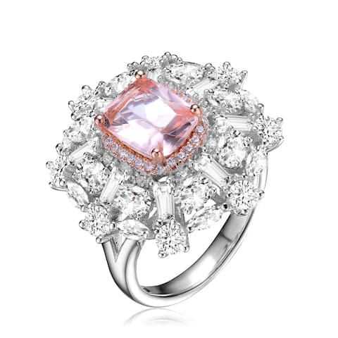 Collette Z Sterling Silver with Rhodium and Rose Gold Plated Morganite Cushion Cubic Zirconias with Clear Cubic Zirconias Ring