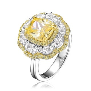 Collette Z Sterling Silver with Rhodium and Gold Plated Yellow Cushion Cubic Zirconia with Clear Oval Cubic Zirconias Halo Ring