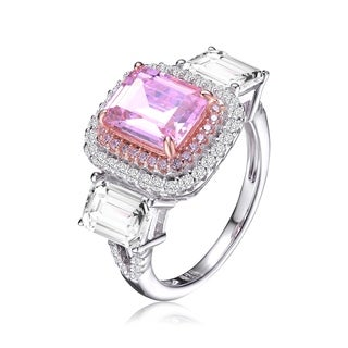 Collette Z Sterling Silver with Rhodium and Rose Gold Plated Pink and Clear Radiant Cubic Zirconias Haloed Three-Stone Ring