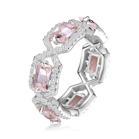 Collette Z Sterling Silver with Rhodium Plated Morganite Emerald Cubic Zirconias with Clear Round Cubic Zirconias Braided Ring
