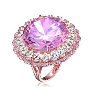 Collette Z Sterling Silver with Rose Gold Plated Pink Round Cubic Zirconia with Clear Pear Cubic Zirconias Halo Cocktail Ring